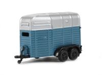 Horsebox Twin Axle in mid-blue & silver