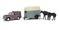 Morris Minor Pick-up and single-axle horsebox with 2 horses