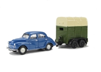 Morris Minor 4-door saloon and twin-axle Cattle Trailer
