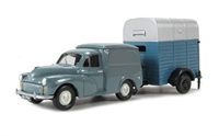 Hound Trailer Single Axle Blue & Silver towed by Morris 1/4Ton Minor Van