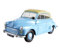 Morris Minor convertible with top up in pale blue
