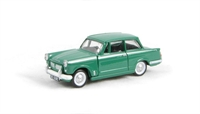 Triumph Herald 1200 saloon in green with opening bonnet