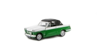 Triumph Herald 12/50 convertible in green and white, hood up with opening bonnet