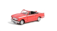 Triumph Vitesse convertible in racing red, hood down with opening bonnet