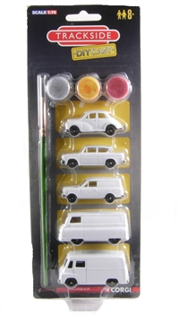 1960's DIYcast set. Contains unpainted Morris Minor, Ford Anglia, Bedford HA van, Morris J2 van & Morris LD van.
