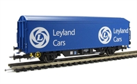 "Modified ZBX ""Leyland Cars"" ferry wagon ADB787183. HO with British couplings"
