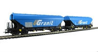 Set of 2 Hopper wagon Granit with flat sides SNCF