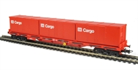 Flat wagon of the German DB with 3 DB containers all in red livery