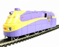 Kawasaki DB3 Class 4-4-4 tank engine in purple and yellow