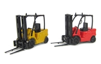 2 forklift trucks - 1 red, 1 yellow