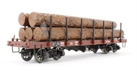 Flat Wagon with Stanchion & Loading Brown