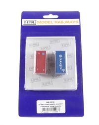 2 x 20' freight containers - 1 x Hanin (blue) & 1 x Water Front (red)
