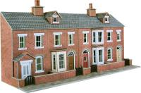 Low relief terrace house fronts - red brick (128w x 73d x 125h mm)