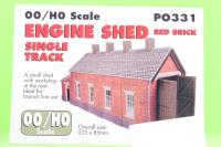 Single track engine shed - red brick - Pre-owned - Like new