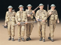 British Infantry on patrol - 5 walking figures in standard ETO uniform