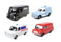 Emergency Set with Bedford CA van (Fire), Morris LD Van (Police), Ford Transit van (Ambulance) and Morris 1000 van (Police)