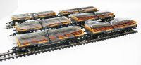 Pack of 6 45 Ton glw steel carrier wagon with rail load